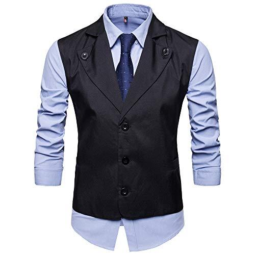 - Koolsants Mens Formal Business Vest Fully Lined 3 Button V-Neck Economy Dressy Suit Vest Waistcoat Black