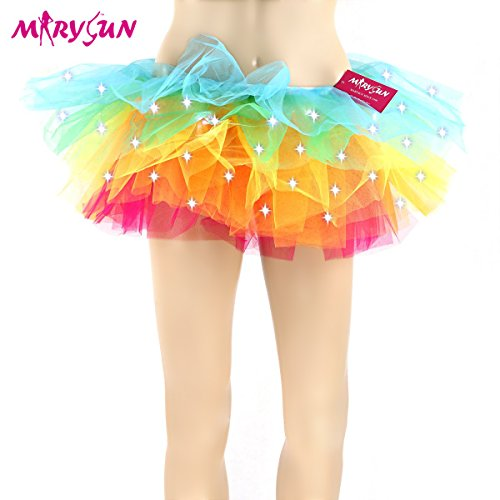 [Adult Tutu Led Tutu Neon Rainbow Tutu for Women 80s Costume Tutu Skirt, XX-L/XXX-L(30