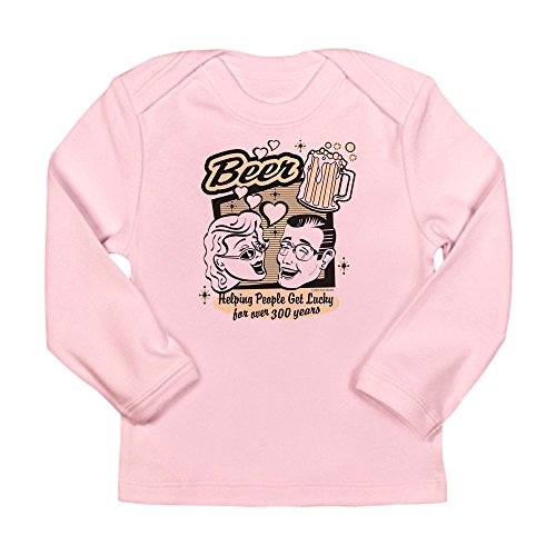Truly Teague Long Sleeve Infant T-Shirt Beer: Helping People Get Lucky - Petal Pink, 0 To 3 Months ()