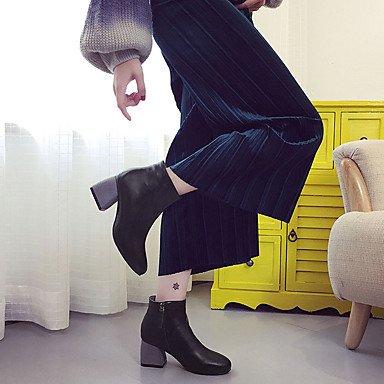 Wsx & Plm Womens-tobillo Boots-oficina Y Trabajo Formal Casual-otro-square-pu (poliuretano) -negro Gris, Us8 / Eu39 / Uk6 / Cn39