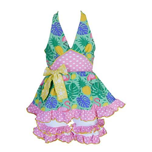 AnnLoren Toddler Girls 4-5T Pink Green Tropical Flamingo Halter Capri Outfit