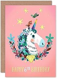 Unicorn Flowers Birthday 6th Greetings Card