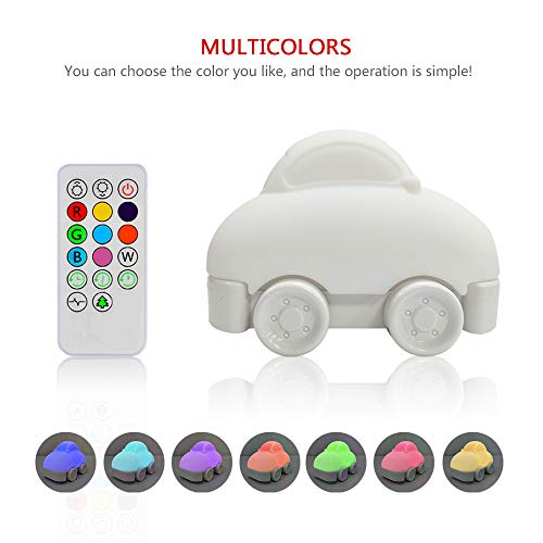 Night Light for Kids, YHTechnology Soft Silicone Car Baby Nursery Lamp with Sensitive Tap and Remote Control, LED Besides Lamp with Multicolor Best Gift for Children ()