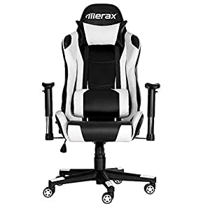 Merax High Back Racing Style Gaming Chair Adjustable Swivel Office Chair (Black&White)