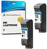 Printing Pleasure 2 BLACK Remanufactured Printer Ink Cartridges for HP Copier 310 Deskjet 3810 3820 916c 920c 940c 948c Officejet 5110 PSC 2120 700 720 750 900 950 | Replacement for HP 15 (C6615DE)