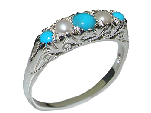 925 Sterling Silver Natural Turquoise and Cultured Pearl Womens Band Ring - Sizes 4 to 12 Available (Cultured Pearl Turquoise Ring)