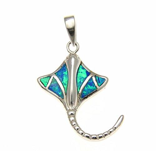 Arthur's Jewelry 925 Sterling Silver Hawaiian Stingray Fish Blue Synthetic Opal Pendant Charm