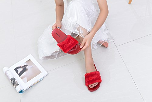 Slip Mila Slippers Fur Sandal On Women's Salome Red and Fashion Softey Lady wwqOA4x0