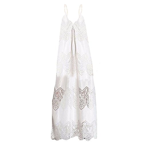 Women Floral Lace Maxi Dress Sexy V Neck Spaghetti Strap Long Dress Full Dresses for Summer Daily Party Beach Travel White XL Floral Lace Sundress
