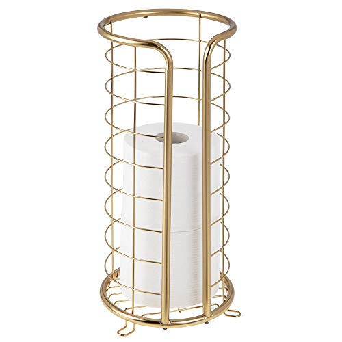 Brass Standing Toilet Tissue Stand - mDesign Decorative Metal Free Standing Toilet Paper Holder Stand with Storage for 3 Rolls of Toilet Tissue - for Bathroom/Powder Room - Holds Mega Rolls - Soft Brass