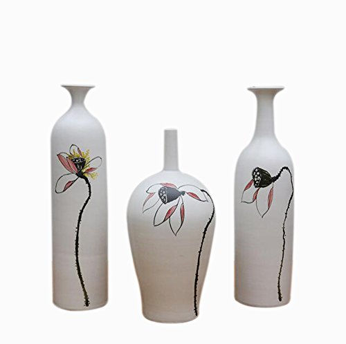 Jingdezhen Ceramic flower flower holder living room at home ornaments handmade ceramic flower vase,set