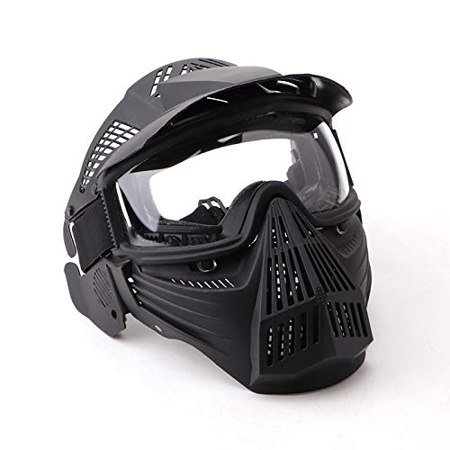 NINAT Tactical Paintball Mask, Airsoft Mask Full Face with Lens Goggles Eye Protection for CS Survival Games BBS Shooting and Other Airsoft Safety Mask Paintball Goggles-Black by NINAT