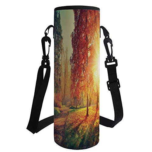 Water Bottle Sleeve Neoprene Bottle Cover,Fall,Vibrant Misty Day in Forest Sun Rays Trees Foliage Fallen Leaves Calm View Decorative,Orange Yellow Green,Fit for Most of Water Bottles by iPrint