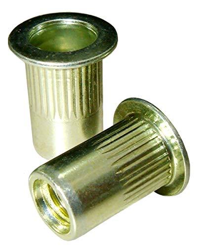 Rivet Nuts Threaded Inserts 25 Pack #6-32 UNC Zinc Plated Carbon Steel Insert Nut Rivnut Nutsert Threaded Rivets Insert Riv Nuts Rivet And Thread Threaded Rivet Nutsert Tool ()