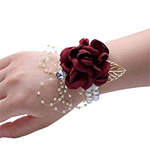 Flonding Girl Bridesmaid Wrist Corsage Bridal Silk Wrist Flower with Faux Pearl Bead Stretch Bracelet Wristband Gold Leaf for Wedding Prom Hand Flowers Decor (Burgundy, Pack of 4) 45