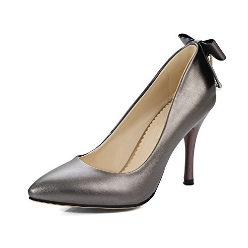 Odomolor Women's PU High-Heels Pointed-Toe Solid Pull-On Pumps-Shoes, Gray, 35