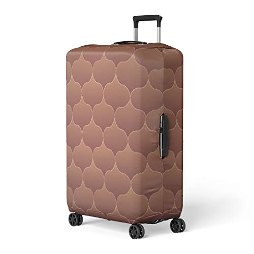 Pinbeam Luggage Cover Brown Quilt Pattern Quilted Colorful Abstract Artistic Beauty Travel Suitcase Cover Protector Baggage Case Fits 18-22 inches