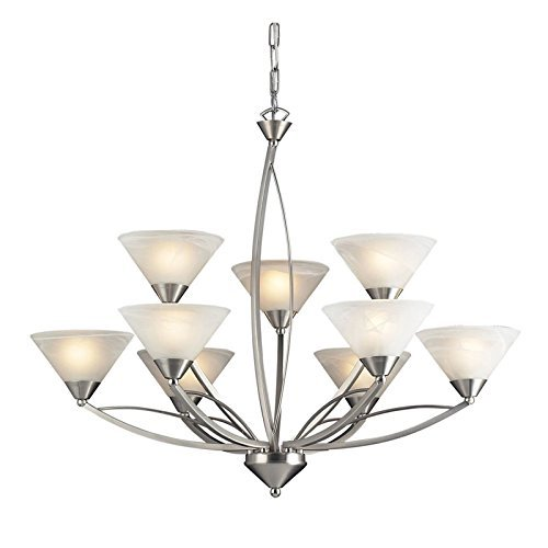 Chandelier 3 Elysburg Light - Elk 7638/6+3 Elysburg 9-Light Two Tier Chandelier with White Marbleized Glass Shade, 34 by 27-Inch, Satin Nickel Finish by Elk