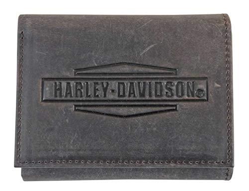 Harley Davidson Tri Fold Leather Wallet MCH8461 BRNBLK product image