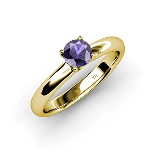 TriJewels Iolite Solitaire Ring 0.95 ct in 14K Yellow Gold.size 9 ()