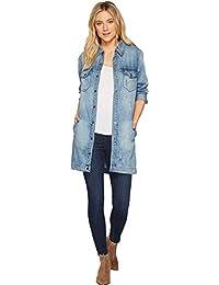 Women's Long Smock Shirt Jacket in Soft Rigid Denim