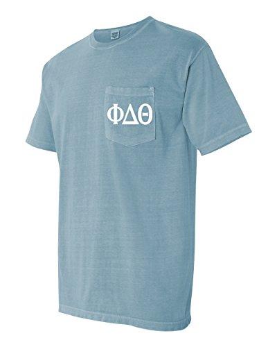 (Phi Delta Theta Fraternity Comfort Colors Pocket T-Shirt (Large, Ice Blue))