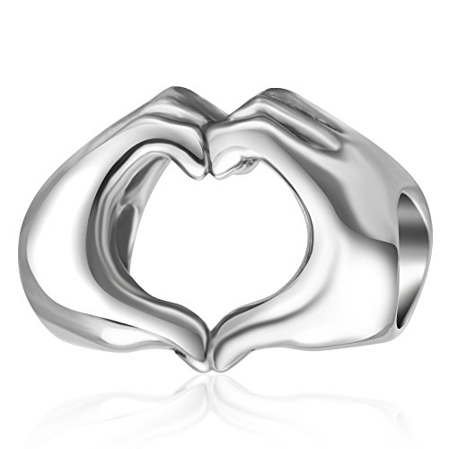 925 Sterling Silver Love Heart in Your Hands Charm for Charms Bracelets, Xmas Gifts Idea