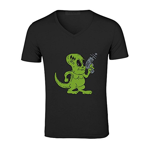 Mcol Alien Dinosaur Holding Ray Gun Cartoon Mens V Neck Personalized T Shirt