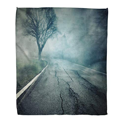 Emvency Throw Blanket Warm Cozy Print Flannel Gray Horror Creepy Street Movie Scary Highway Mist Hopeless Suicide Halloween Comfortable Soft for Bed Sofa and Couch 60x80 Inches