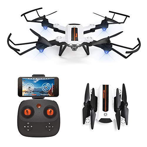 HAOXIN F22G FPV RC Drone Foldable Quadcopter with Wide-Angle Adjustable 720P HD Camera, Optical Flow Position Long Range Outdoor Drone Easy to Fly Helicopter Route Planning, Long Life Modular Battery
