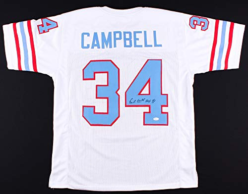Earl Campbell Autographed White Houston Oilers Jersey - Hand Signed By Earl Campbell and Certified Authentic by JSA - Includes Certificate of Authenticity - Hand Signed Houston Oilers