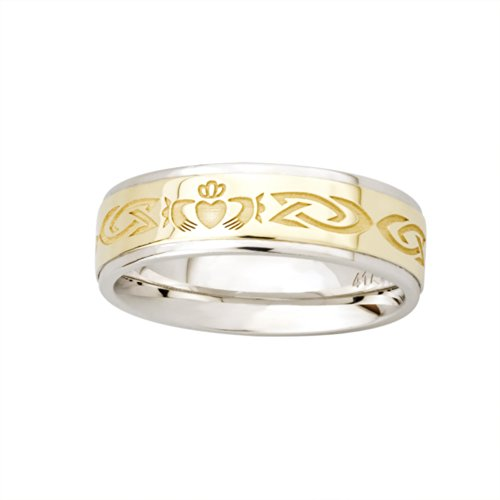 Solvar Silver & 10K Gold Claddagh Ladies Band