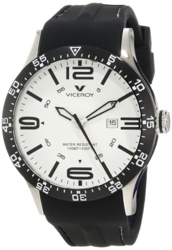 Viceroy Men's 432049-05 White Dial Black Rubber Date Watch