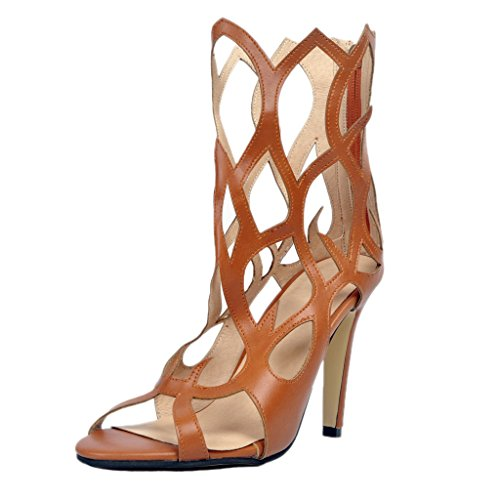 Out Schuhe Freie Hollow Damenschuhe Zip High Heels Braun Sandalen Kolnoo Toe Reissverschluss UgTCqIU