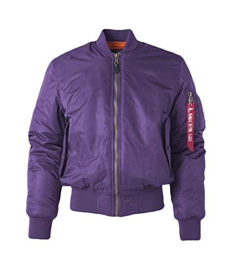 (X-Future Men's Thicken Reversible Ma-1 Flight Stand Collar Quilted Bomber Coat Purple)