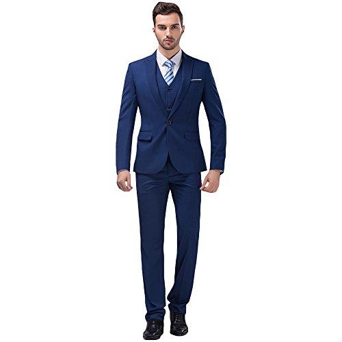 MAGE MALE Mens Solid 3-Piece Suit Slim Fit Notch Lapel One Button Tuxedo Blazer Jacket Pants Vest Set Dark Blue Small