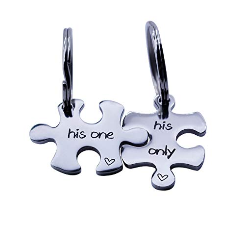omodofo Puzzle Piece Keychains Set of 2 Gay Boyfriend Couples Jewelry LGBT Lesbian Girlfriend Anniversary Valentines Day Wedding Gifts (His One & His Only (Keychain))