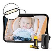 Baby & Mom Back Seat Baby Mirror with LED Lights and Remote Control - Rear View Baby Car Seat Mirror Made by Wide Convex Shatterproof Glass - Fully Assembled, Crash Tested and Certified for Safety
