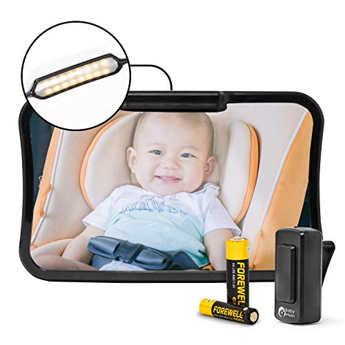 Espejo retrovisor para bebé Baby &Mom, modelo 2017, fácil de ver a tu precioso niño en el coche, ajustable, convexo y vidrio inastillable, with LED Lights and Remote Control