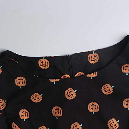 Robe De Taille RTro Vent Cocktail 50'S De sans 1950s Fille Audrey Robe ImprimE Hepburn Noir Manche Yogogo qxt4TT
