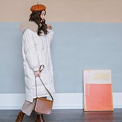 WX-ICZY Veste d'hiver vers Le Bas de la Femme, élégante Cardigan Chaud Épaississement à Capuchon Long Manteau de Fourrure de Collier,Blanc,M