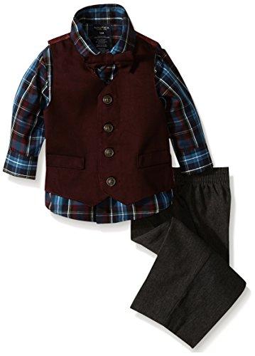 Nautica Baby Boys' Twill Dress Wear Vest Set, Bright Burgundy, 24 Months