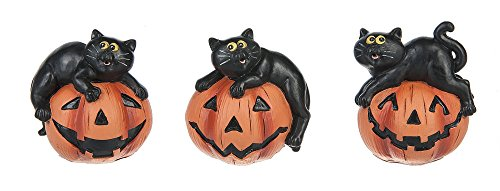 Set of 3 Polystone Halloween Cats on Jack-O-Lantern Tabletop (Ganz Halloween)