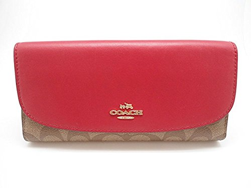 (COACH F57319 SIGNATURE CHECKBOOK WALLET KHAKI BRIGHT PINK )
