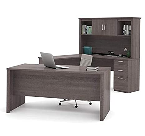 Amazon.com: Modern U-Shaped Office Desk with Hutch in Bark ...