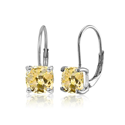 Sterling Silver Citrine 7x7mm Cushion-Cut Leverback Earrings
