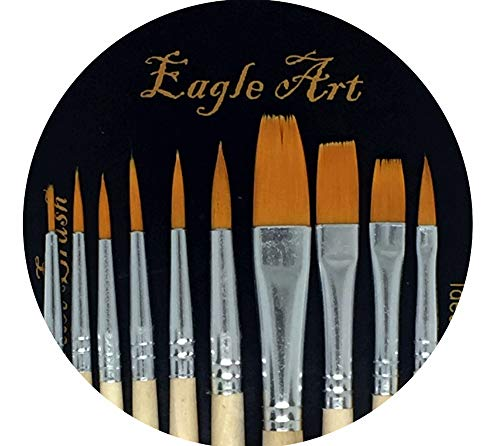 Eagle Art Artist Pointed-Round Paintbrush Set | 10 Pieces Round Pointed Tip | Artist Detail Paint Brushes Set for Fine Detail & Art Painting, Acrylic Watercolor Oil, Nail Art, Miniature, Face Painting -