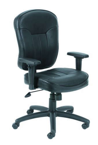 (Boss Leather Adjustable Task Chair With Adjustable Arms, Black)