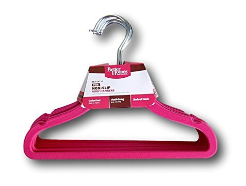 better-homes-and-gardens-no-slip-flocked-kids-hangers-set-of-10-hot-pink