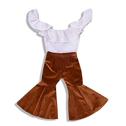 - ZOELNIC Baby Girl Pants Set Toddler Girls Ruffle Off Shoulder Tops+Velvet Bell-Bottom Flared Pants Outfits (White, 3-4 Years)